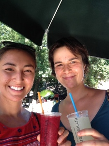 Agnes and me happy to have ice cold granitas on a hot day in the city.